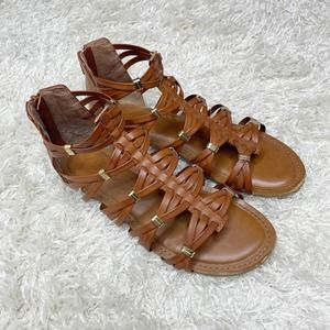 Candies Brown & Gold Leather Strappy Flat Sandals